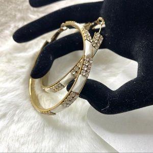 3/ $25  White & Gold Rhinestone Hoop Earrings